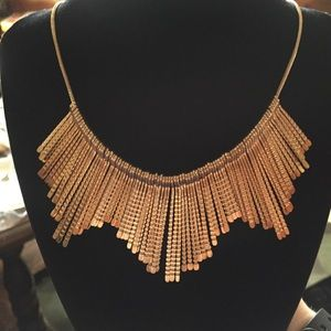 Jewelry - Gold Hammered Metal Fringe Necklace